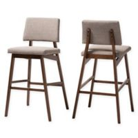 "Baxton Studio® Linen Upholstered Normina 30.3"" Bar Stools in Light Gray/Walnut (Set of 2)"