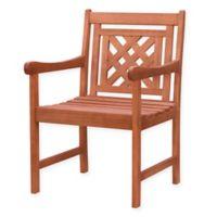 Vifah Malibu Plaid Patio Armchair in Cherry