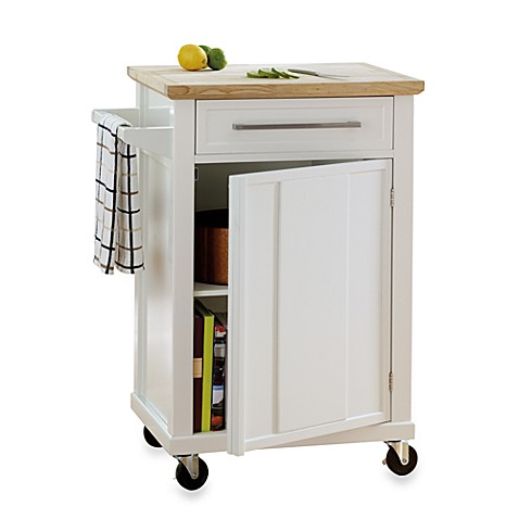 real simple rolling kitchen cart in white