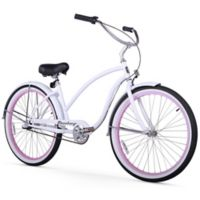 """Firmstrong Chief Lady 26"""" Three Speed Beach Cruiser Bicycle in White w/Pink Rims"""