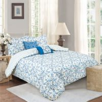Sloane Street Antalya Reversible 5-Piece King Comforter Set in Blue/White