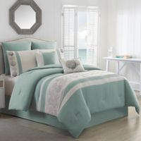 Cambay Embroidered Twin Comforter Set in Seafoam
