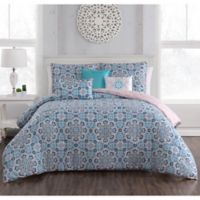 Brinley 6-Piece Reversible Queen Comforter Set in Teal