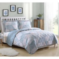 Lemon E Drake Geo King Quilt Set In Blue