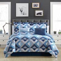Geo Reversible Full Comforter Set in Blue