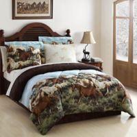 Thunder Run Reversible Queen Comforter Set in Brown