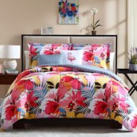 Lanai Reversible Full/Queen Comforter Set in Pink