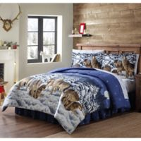 Mid Wolves Reversible Twin Comforter Set in Blue