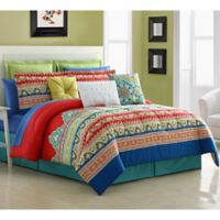 Fiesta® Mariposa Reversible King Comforter Set in Red