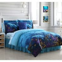 Dolphin Cove Reversible Twin Comforter Set in Blue