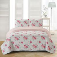 Chloe Reversible Twin Quilt Set in Pink