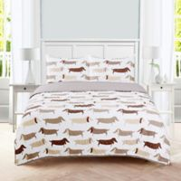 Dachshund Reversible Twin Quilt Set in Taupe