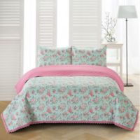 Olivia Reversible Twin Quilt Set in Blue