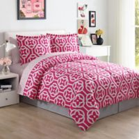 Lemon & Spice Meili Floral Full Comforter Set in Pink