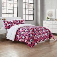 Valerie Reversible Full/Queen Comforter Set in Navy/Pink