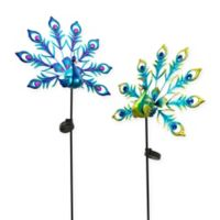 Gerson Solar Powered Peacock Yard Stakes (Set of 2)