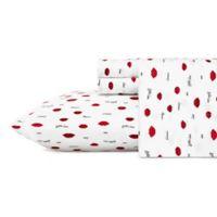 Betsey Johnson® Love Lips Queen Sheet Set in Dark Red