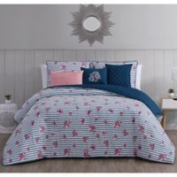 Kalina 6-Piece Reversible King Comforter Set in Navy/Pink
