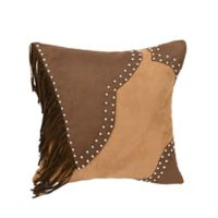 HiEnd Accents Faux Leather Square Throw Pillow in Brown