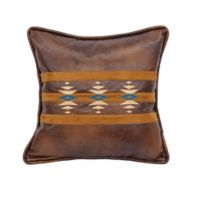 HiEnd Accents 18-Inch Faux Leather Embroidered Square Throw Pillow in Brown