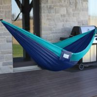 Vivere Double Parachute Hammock in Navy/Turquoise