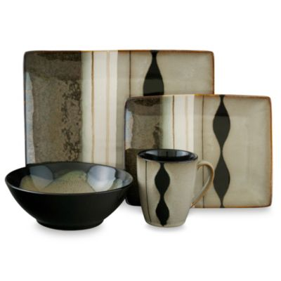 Sango Prelude Black 16-Piece Dinnerware Set  sc 1 st  Bed Bath \u0026 Beyond & Buy Sango Dinnerware from Bed Bath \u0026 Beyond