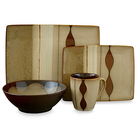 Sango Prelude Brown 16 Piece Dinnerware Set Bed Bath