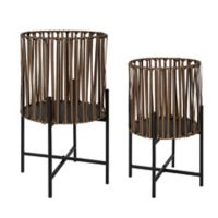 Kate and Laurel® 2-Piece Paynter Planter Set in Brown