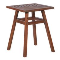 Forest Gate Chevron 18-Inch Square Acacia Wood Patio Side Table in Dark Brown