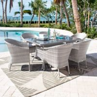 Athens 7-Piece Patio Armchair Dining Set in White Wash with Canvas Cushions