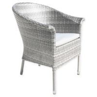 Athens Woven Patio Armchair in White Wash with Cushion