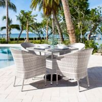 Athens 5-Piece Patio Armchair Dining Set in White Wash with Air Blue Cushions