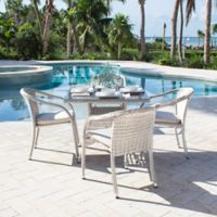 Athens 5-Piece Stackable Patio Armchair Dining Set in White Wash with Cushions
