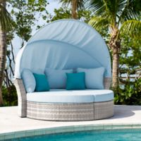 Athens Outdoor Canopy Daybed in White Wash with Ottomans