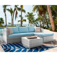 Athens 3-Piece Patio Sectional Sofa Set in White Wash with Coffee Table and Air Blue Cushions