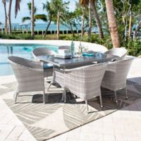 Athens 7-Piece Patio Armchair Dining Set in White Wash with Cushions