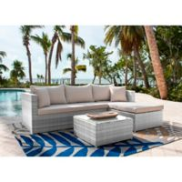 Athens 3-Piece Patio Sectional Sofa Set in White Wash with Coffee Table and Canvas Cushions