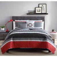 Arden Stripe Reversible Twin Quilt Set