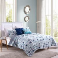 Sea Shore Reversible Twin Quilt Set in Blue