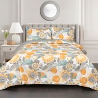 Lush Decor Layla 3-Piece Full/Queen Reversible Quilt Set in Yellow/Grey