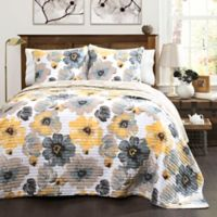 Lush Decor Leah 3-Piece Full/Queen Reversible Quilt Set in Yellow/Grey