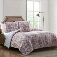 Delilah Tribal 3-Piece Twin Quilt Set in Pink/Grey
