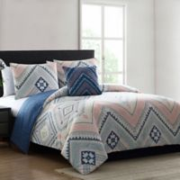 Morgan Home Sarah Reversible Twin Comforter Set in Blue/Pink