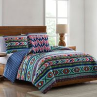 Ava Tribal Print Twin Comforter Set in Blue/Green