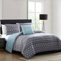MHF Home Danika Reversible 4-Piece Full/Queen Comforter Set in Blue/Grey