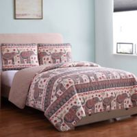 Elephant Print Reversible King Quilt Set in Brown/Red