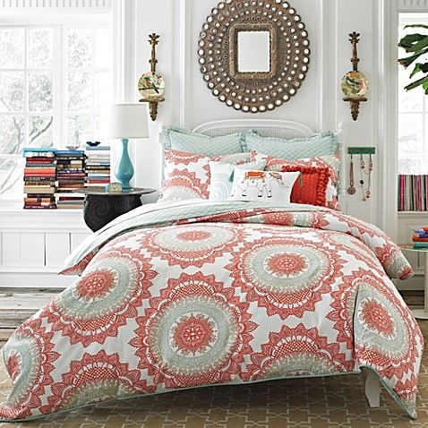 Anthology bungalow reversible comforter set in coral - Bed bath and beyond bedroom furniture ...