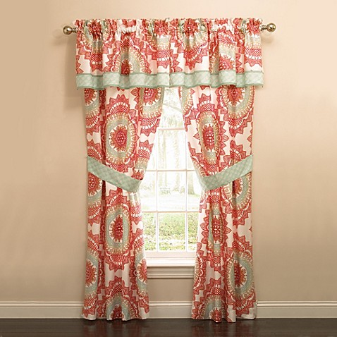 anthology™ bungalow window curtain panels and valance - bed bath