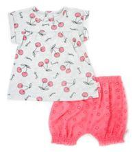 Mini Heroes™ Newborn 2-Piece Cherries Tunic and Short Set in Grey