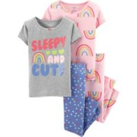 "carter's® Size 2T 4-Piece ""Sleepy and Cute"" Pajama Set in Grey/Purple"